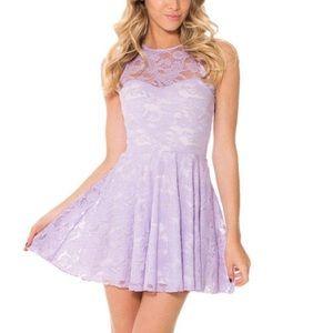 Blackmilk Lilac Purple Lace Museum Skater Dress M